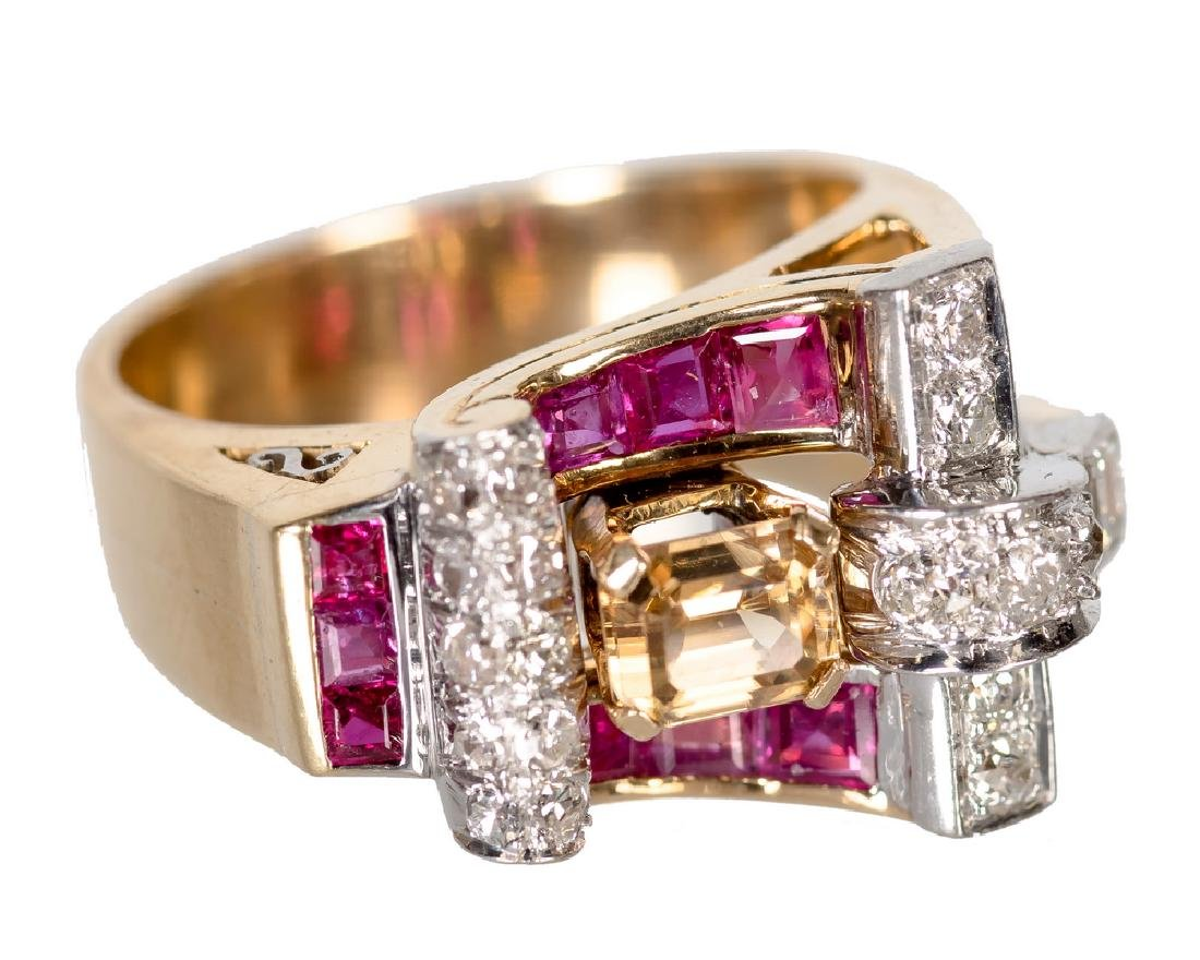 14 KARAT ROSE GOLD, DIAMOND, TOPAZ, & RUBY RING