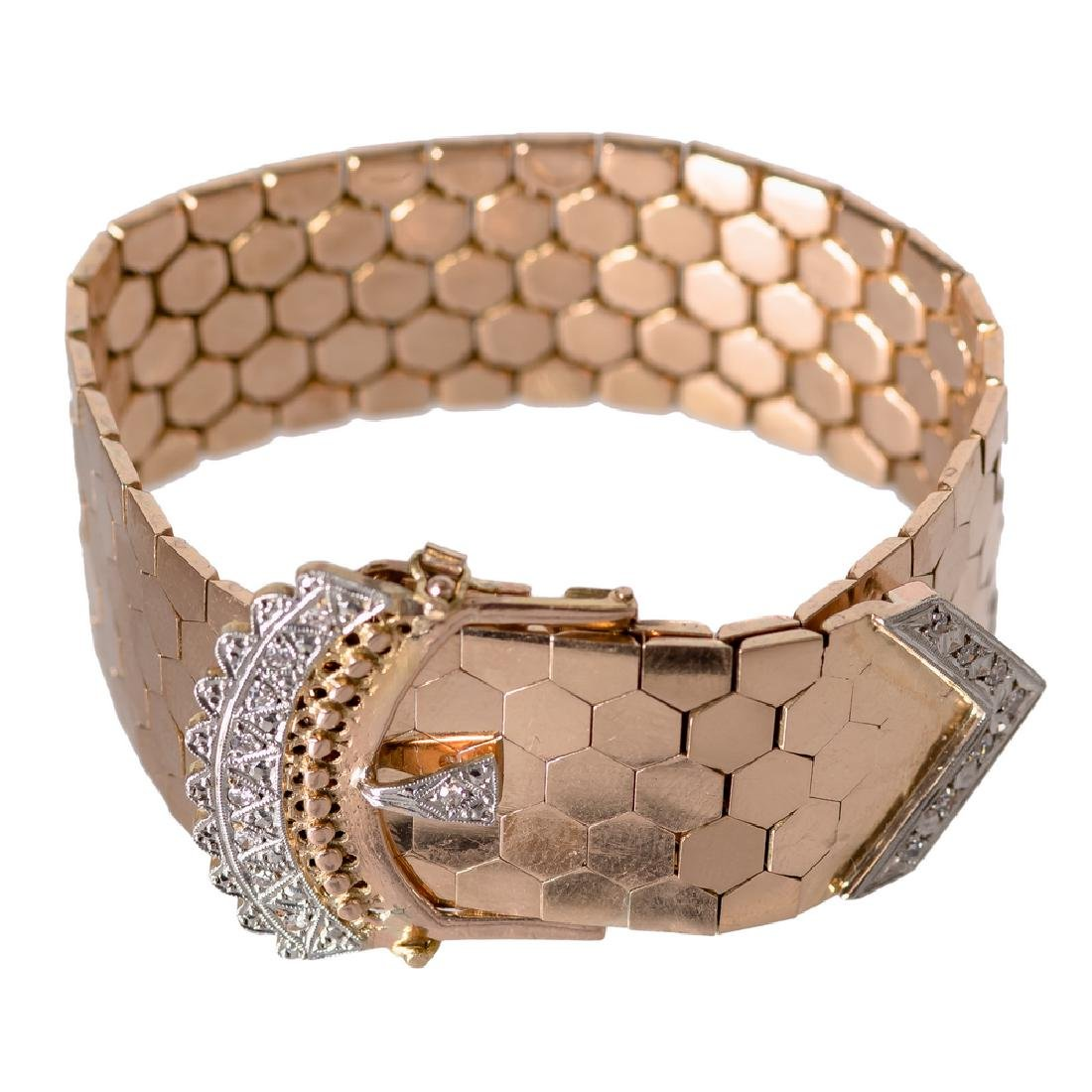 "18 KARAT GOLD & DIAMOND ""BELT"" BRACELET"