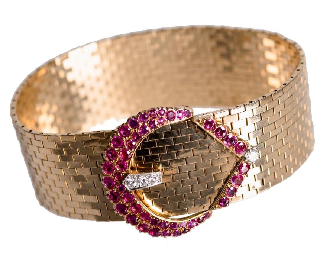 14 KARAT GOLD, DIAMOND, & RUBY BELT BRACELET