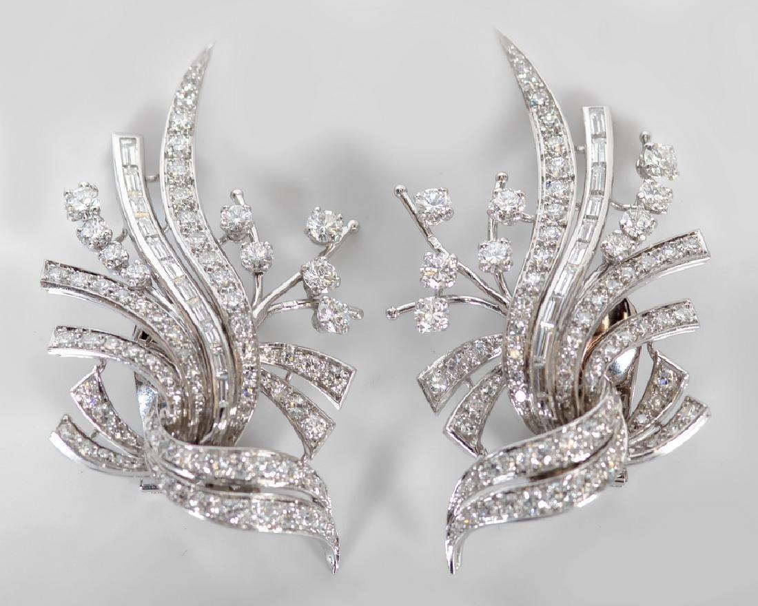 PAIR OF PLATINUM & DIAMOND CLIP EARRINGS