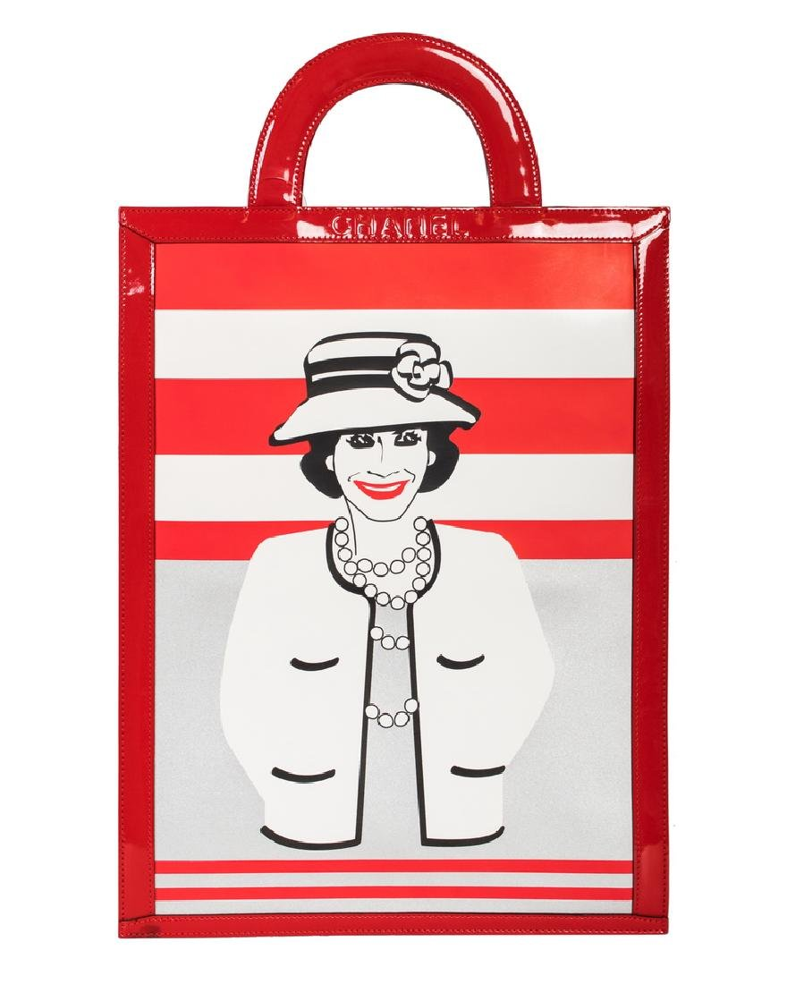CHANEL RED AND WHITE SHOPPING TOTE