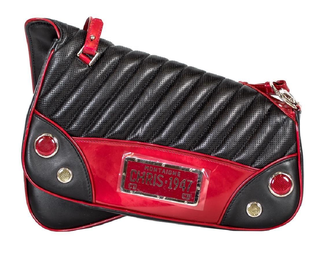 DIOR BLACK AND RED LEATHER SHOULDER BAG