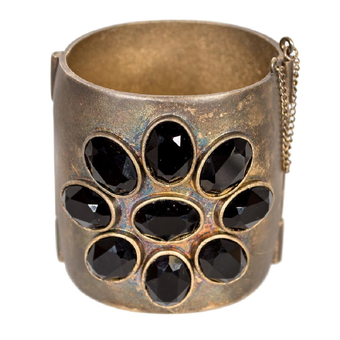 CHANEL METAL CUFF WITH BLACK FACETED STONES