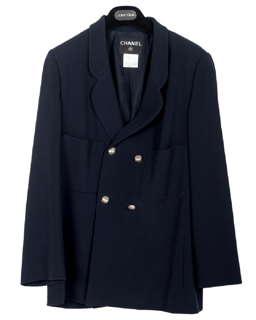 CHANEL NAVY BLUE DOUBLE-BREASTED BLAZER