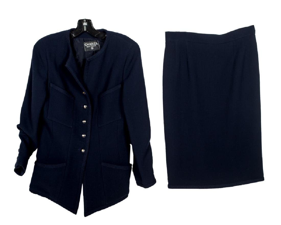 CHANEL BOUTIQUE NAVY BLAZER AND SKIRT