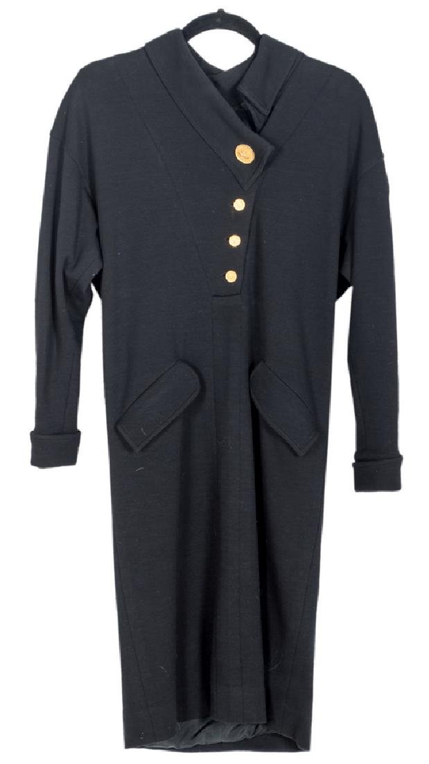 CHANEL BLACK WOOL DRESS WITH GOLD BUTTONS