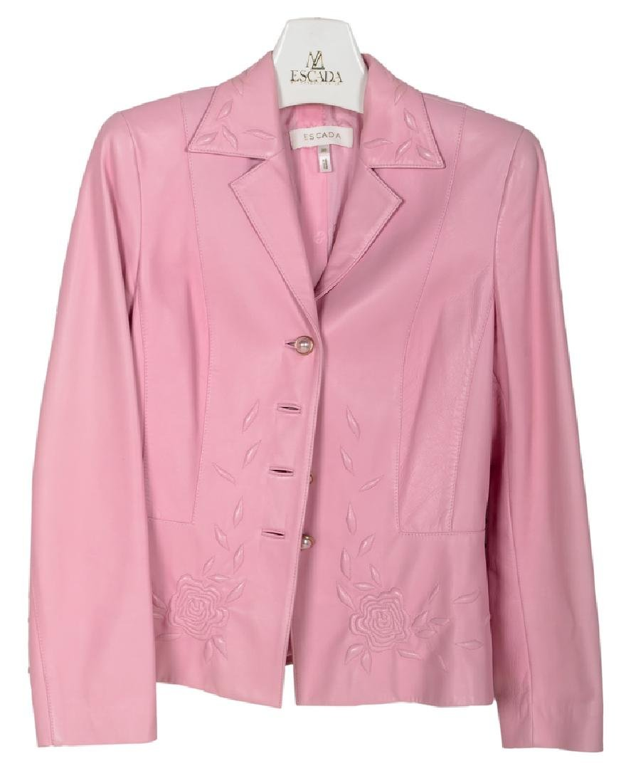 PINK  LEATHER ESCADA JACKET