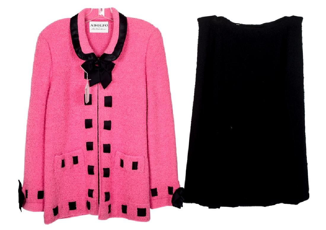 ADOLFO PINK JACKET WITH BLACK MATCHING SKIRT
