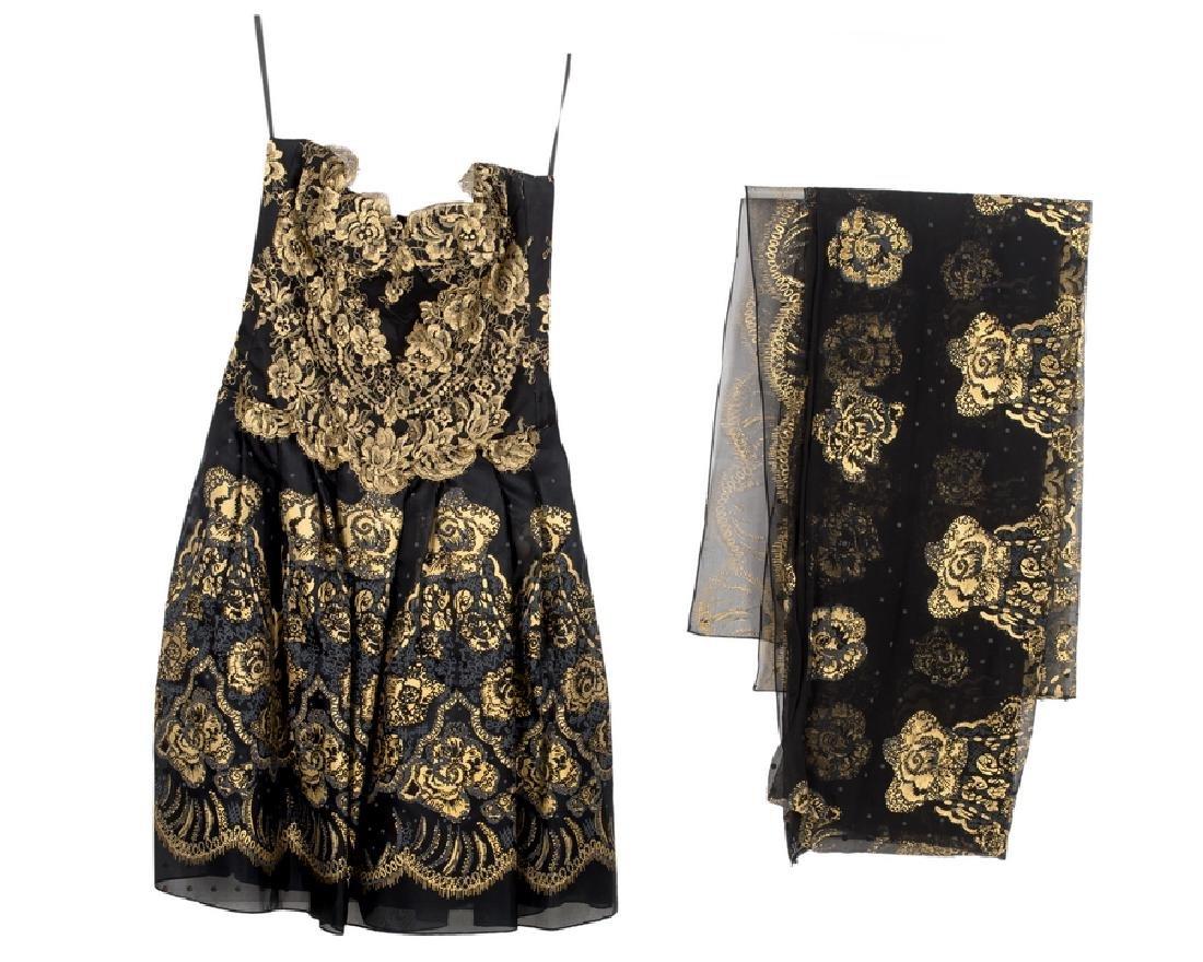 ZANDRA RHODES COCKTAIL DRESS AND SCARF