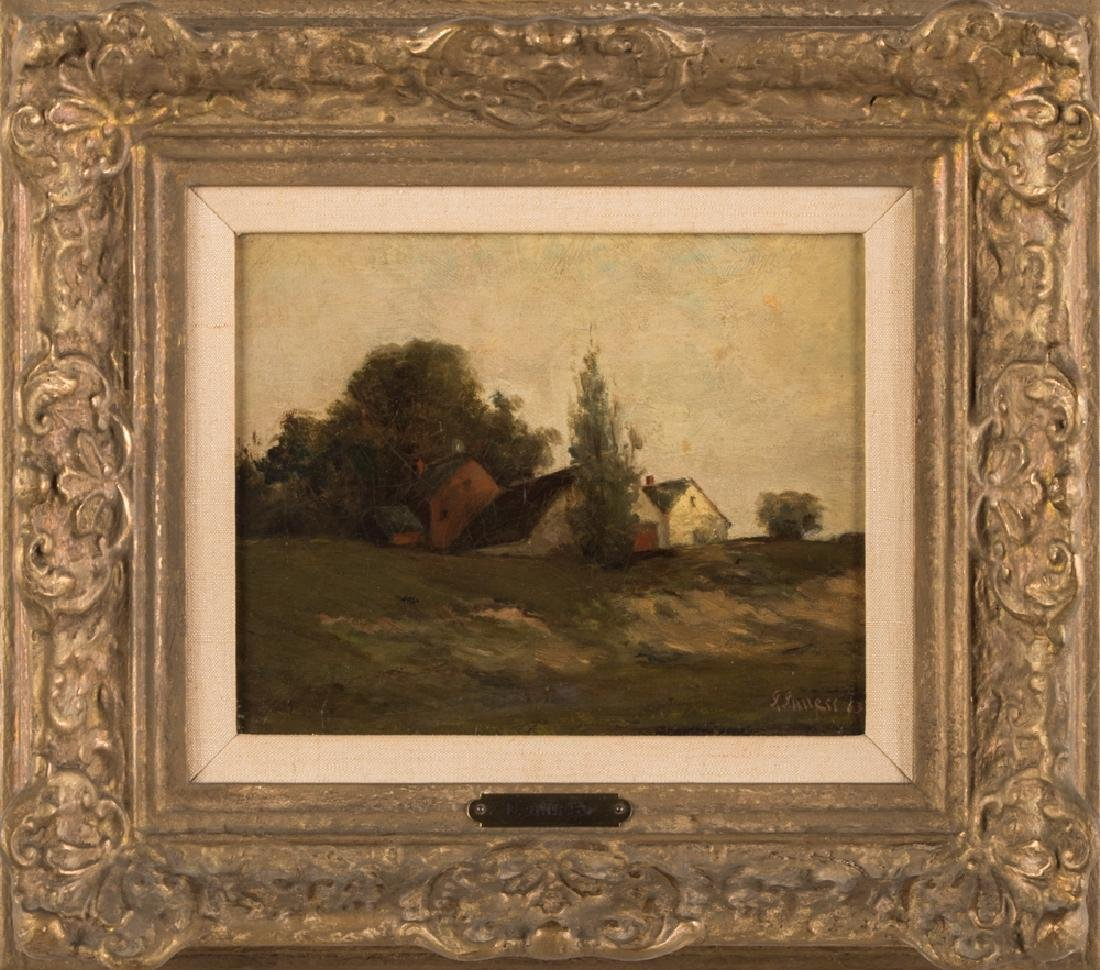 "ATTRIBUTED TO GEORGE INNESS: ""FARM SCENE LANDSCAPE"""