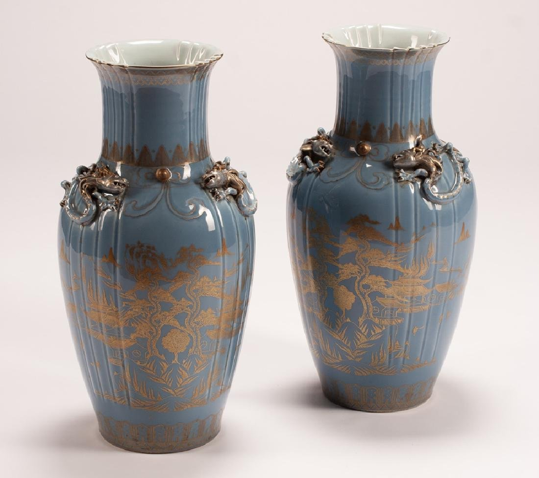 PAIR OF CHINESE BLUE & GOLD PAINTED PORCELAIN VASES