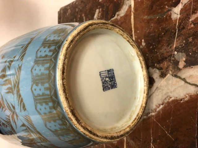 PAIR OF CHINESE BLUE & GOLD PAINTED PORCELAIN VASES - 7