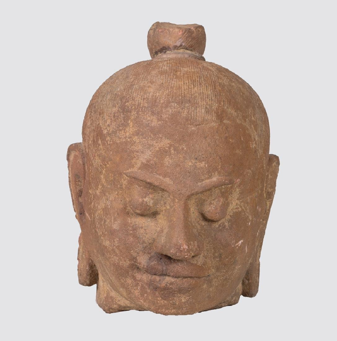 KHMER CARVED STONE BUST OF KING JAYAVARMAN