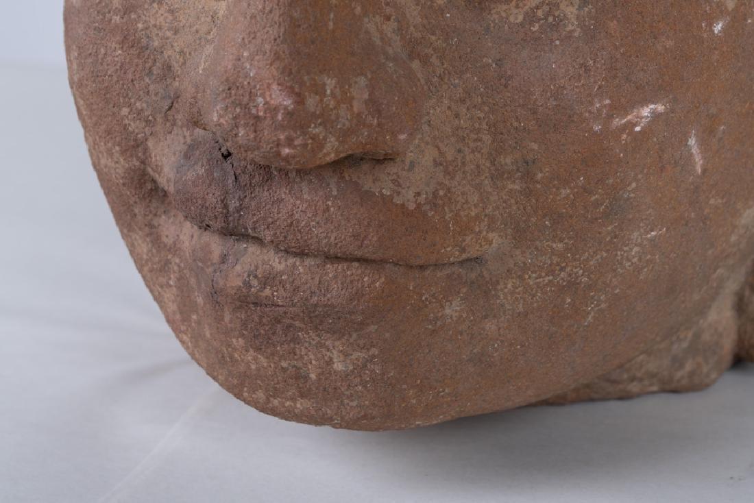 KHMER CARVED STONE BUST OF KING JAYAVARMAN - 3