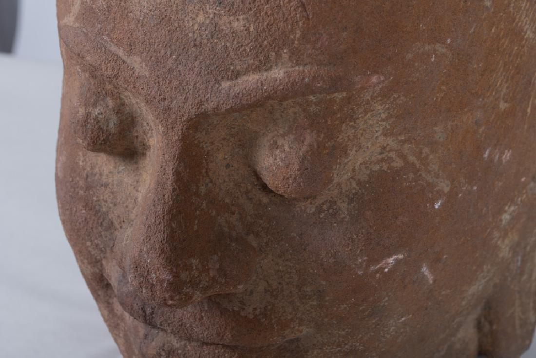 KHMER CARVED STONE BUST OF KING JAYAVARMAN - 4