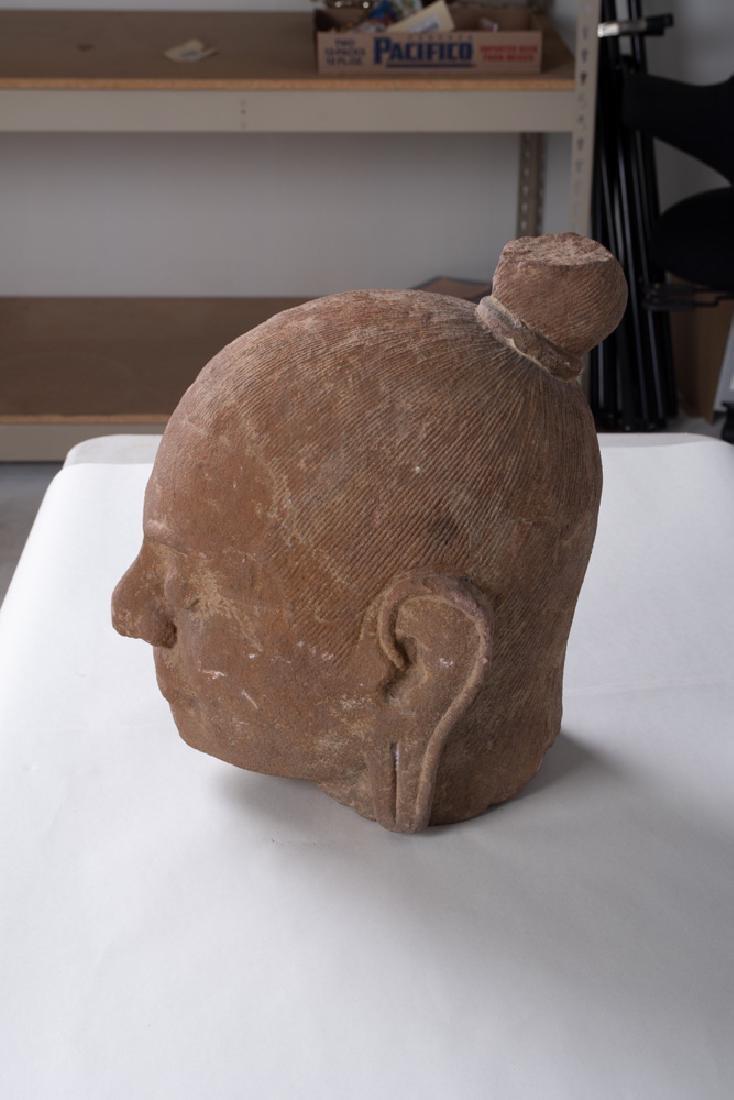 KHMER CARVED STONE BUST OF KING JAYAVARMAN - 7