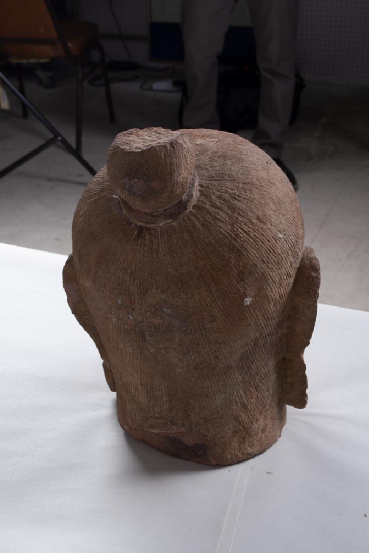KHMER CARVED STONE BUST OF KING JAYAVARMAN - 8