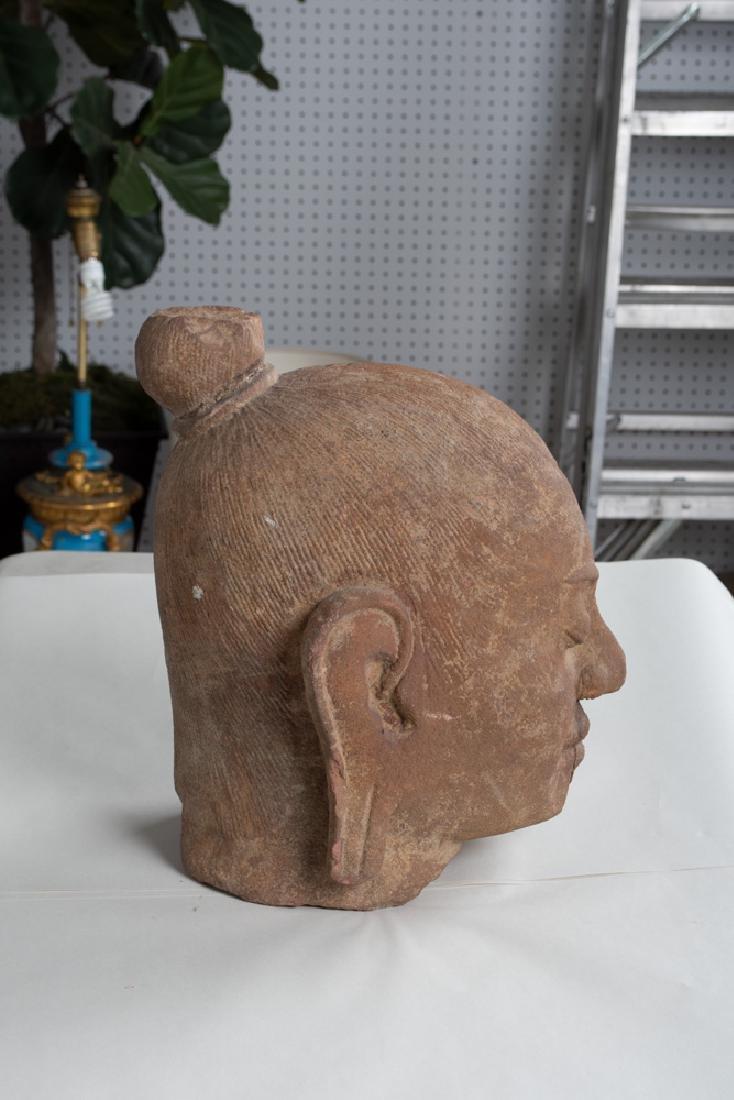 KHMER CARVED STONE BUST OF KING JAYAVARMAN - 9