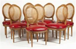 EIGHT LOUIS XVI STYLE CANE BACK DINING CHAIRS