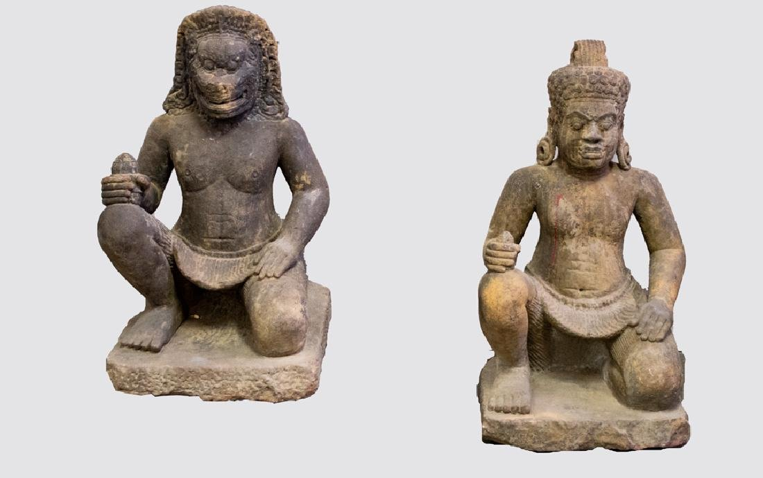 TWO LARGE KHMER CARVED STONE TEMPLE GUARDIANS