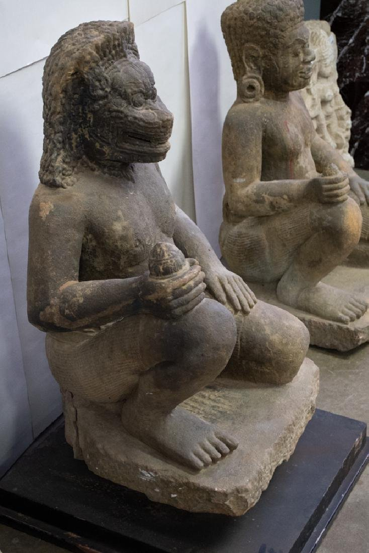 TWO LARGE KHMER CARVED STONE TEMPLE GUARDIANS - 2