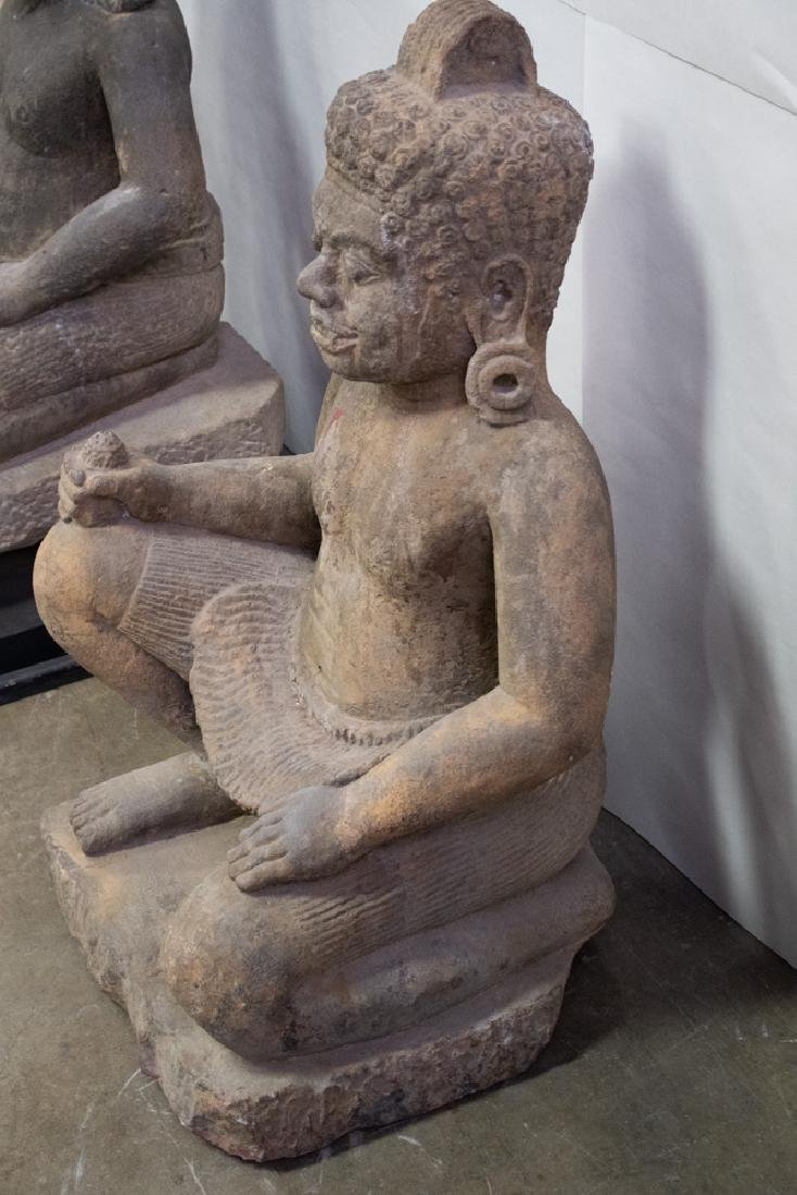 TWO LARGE KHMER CARVED STONE TEMPLE GUARDIANS - 3