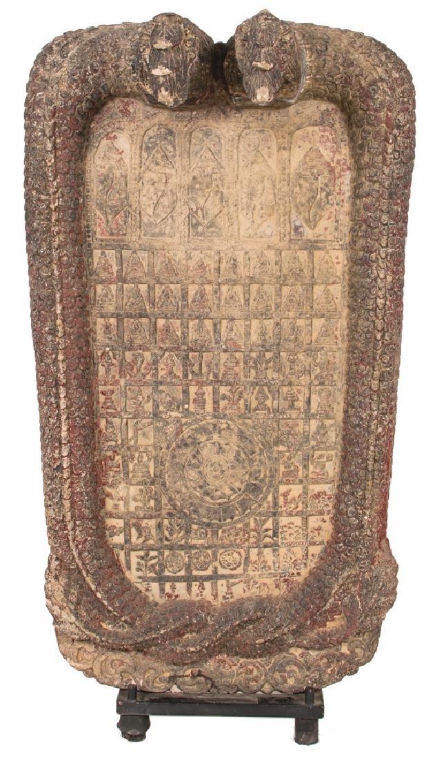 KHMER CARVED SANDSTONE BUDDHIST RELIEF PANEL