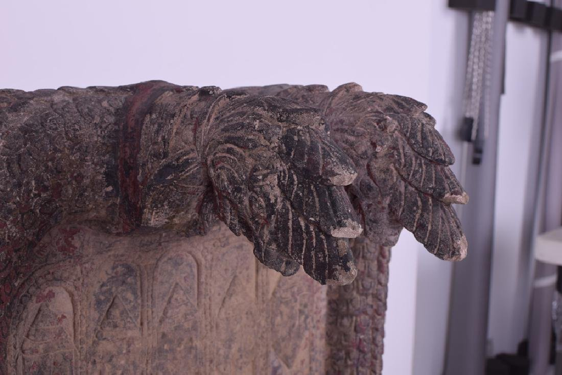 KHMER CARVED SANDSTONE BUDDHIST RELIEF PANEL - 3