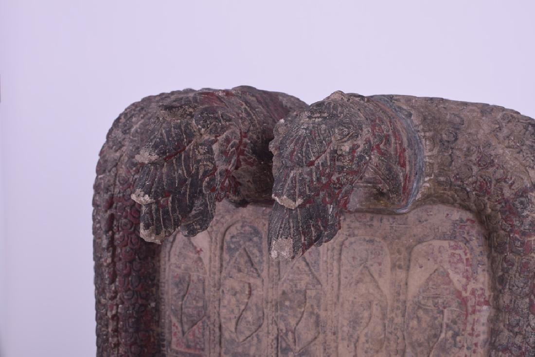 KHMER CARVED SANDSTONE BUDDHIST RELIEF PANEL - 4