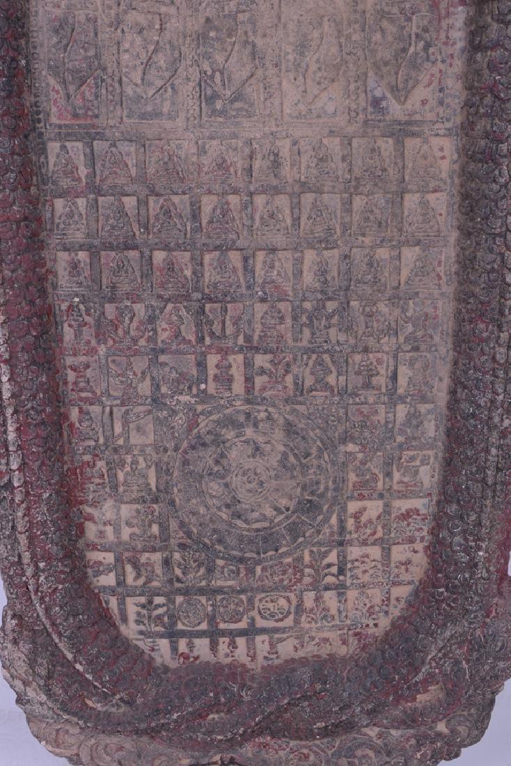 KHMER CARVED SANDSTONE BUDDHIST RELIEF PANEL - 5