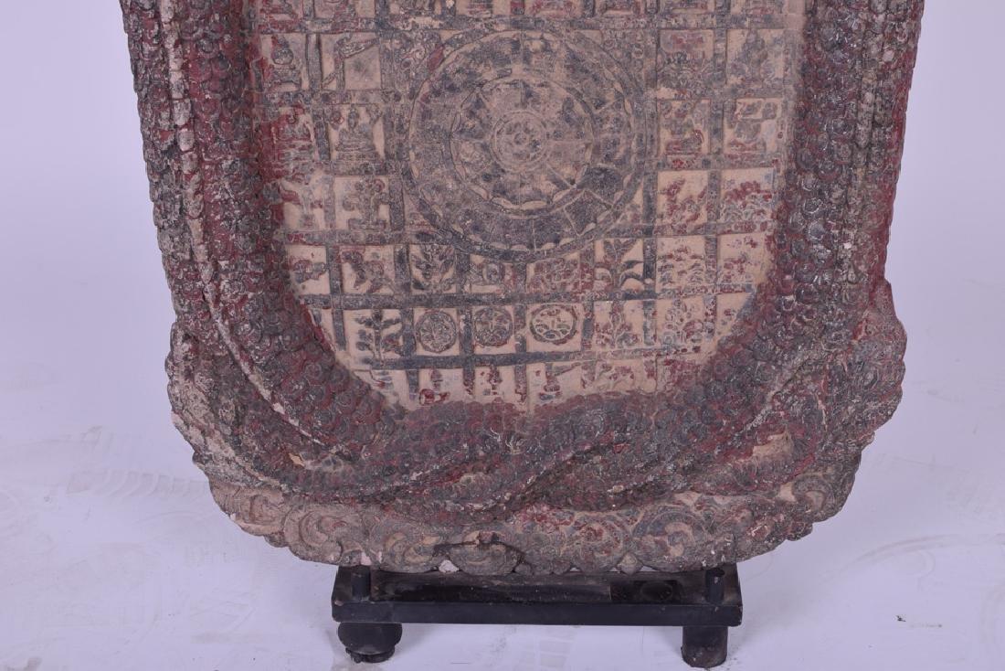 KHMER CARVED SANDSTONE BUDDHIST RELIEF PANEL - 6