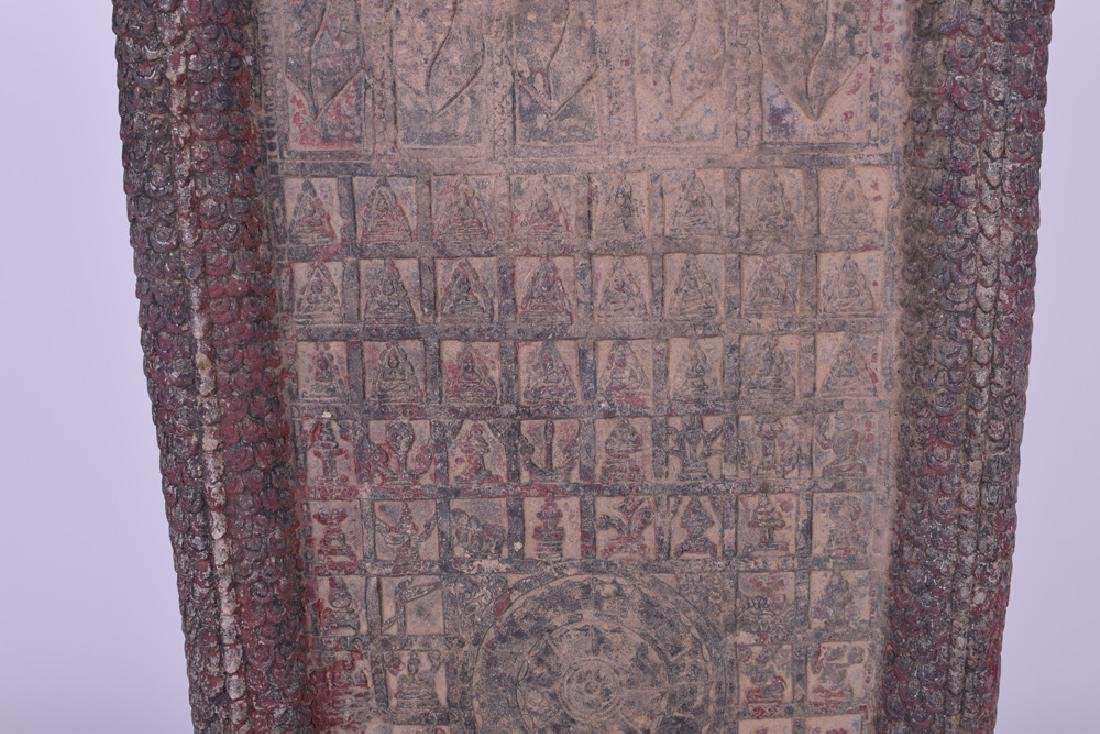 KHMER CARVED SANDSTONE BUDDHIST RELIEF PANEL - 7