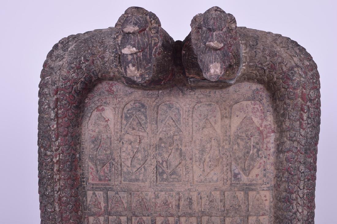 KHMER CARVED SANDSTONE BUDDHIST RELIEF PANEL - 8