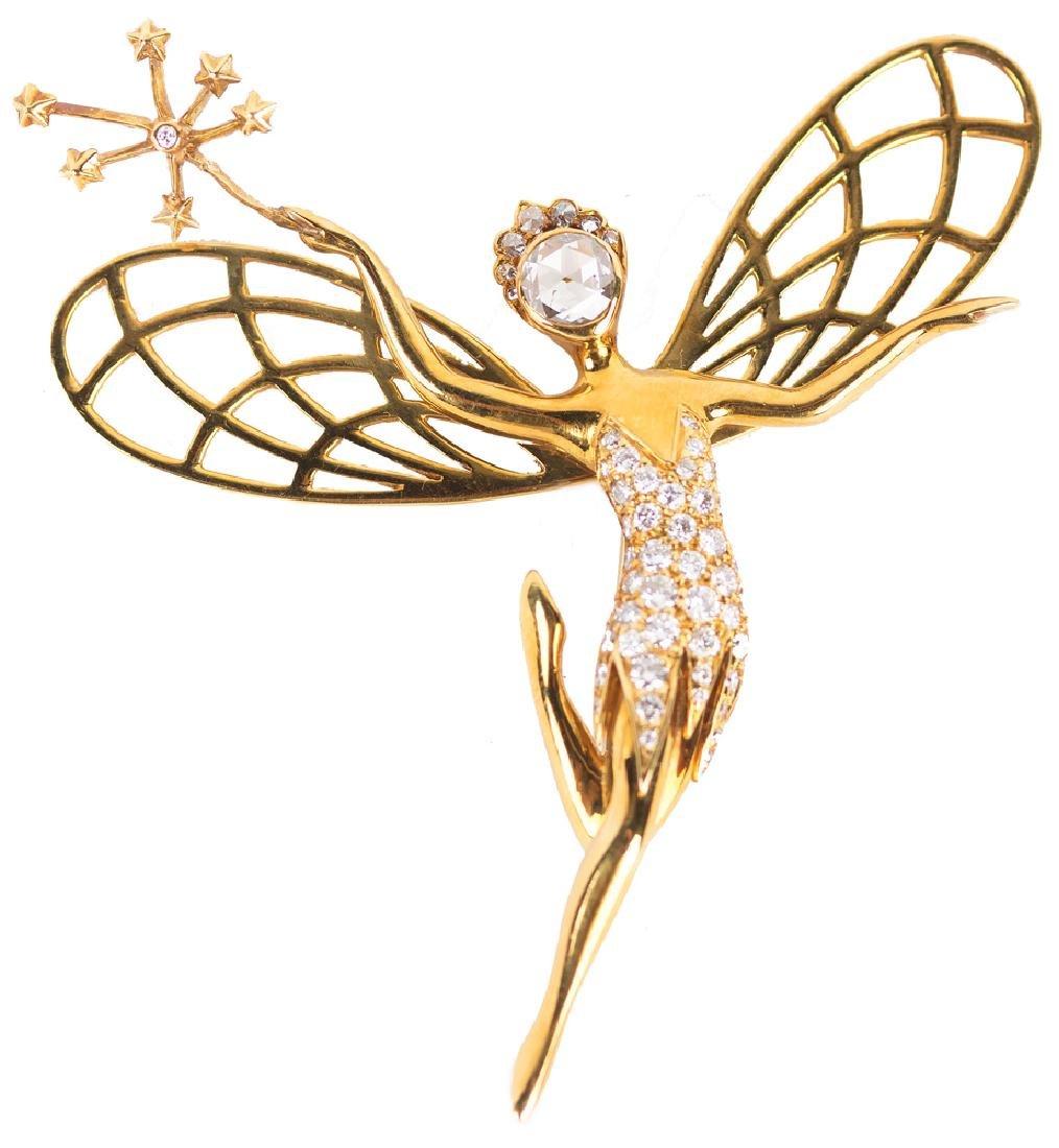 VAN CLEEF & ARPELS STYLE 18 KARAT GOLD & DIAMOND 'SPIRI