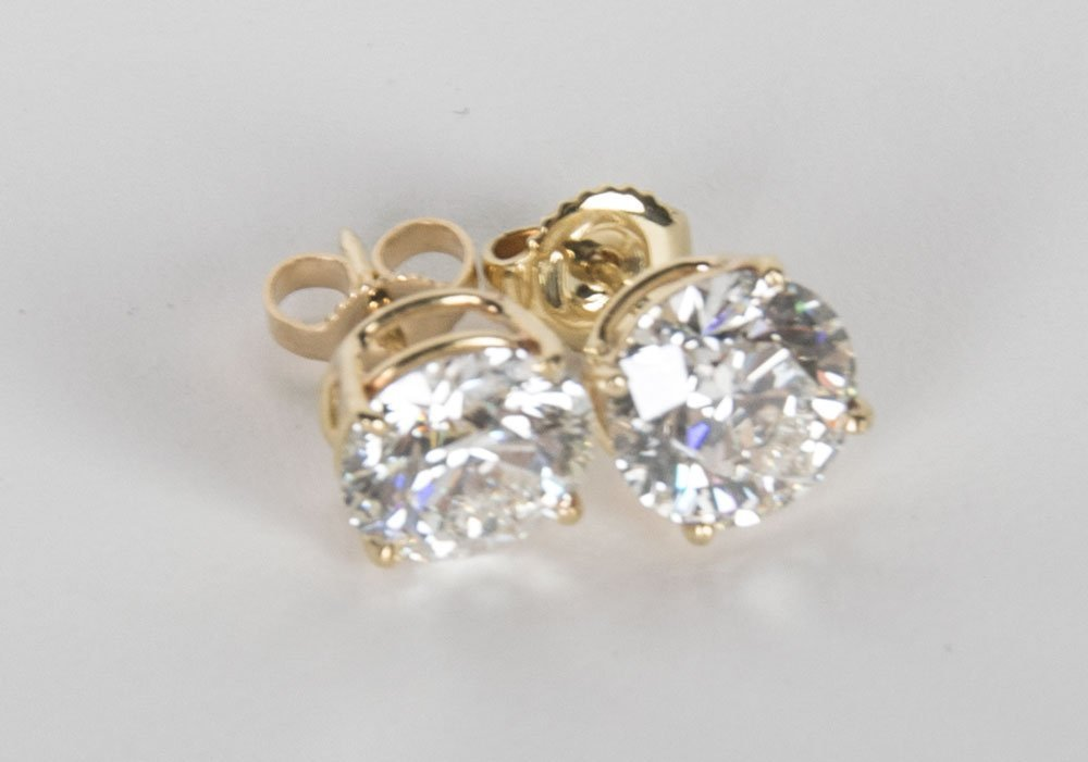 PAIR OF DIAMOND EAR STUDS - 2