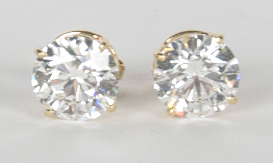 PAIR OF DIAMOND EAR STUDS - 4