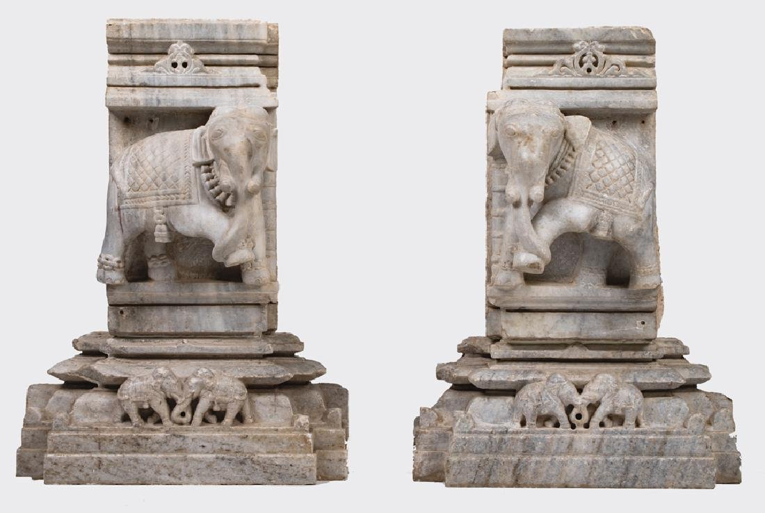 PAIR OF INDIAN JAIN CARVED MARBLE ELEPHANT RELIEFS