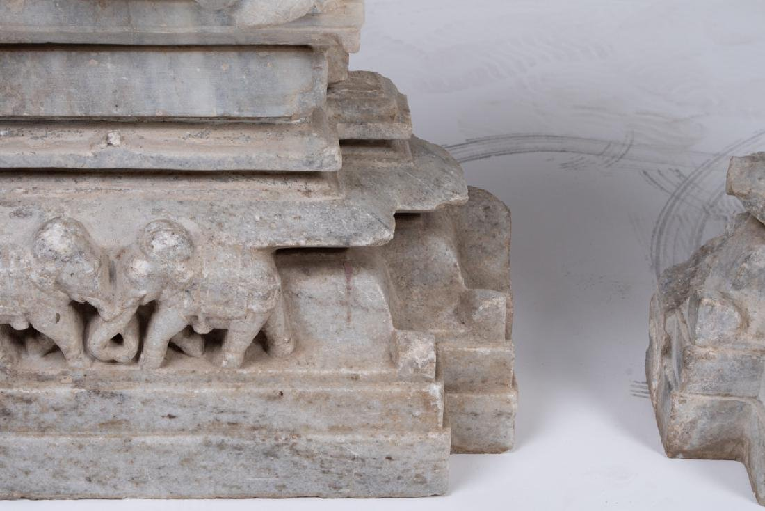 PAIR OF INDIAN JAIN CARVED MARBLE ELEPHANT RELIEFS - 7