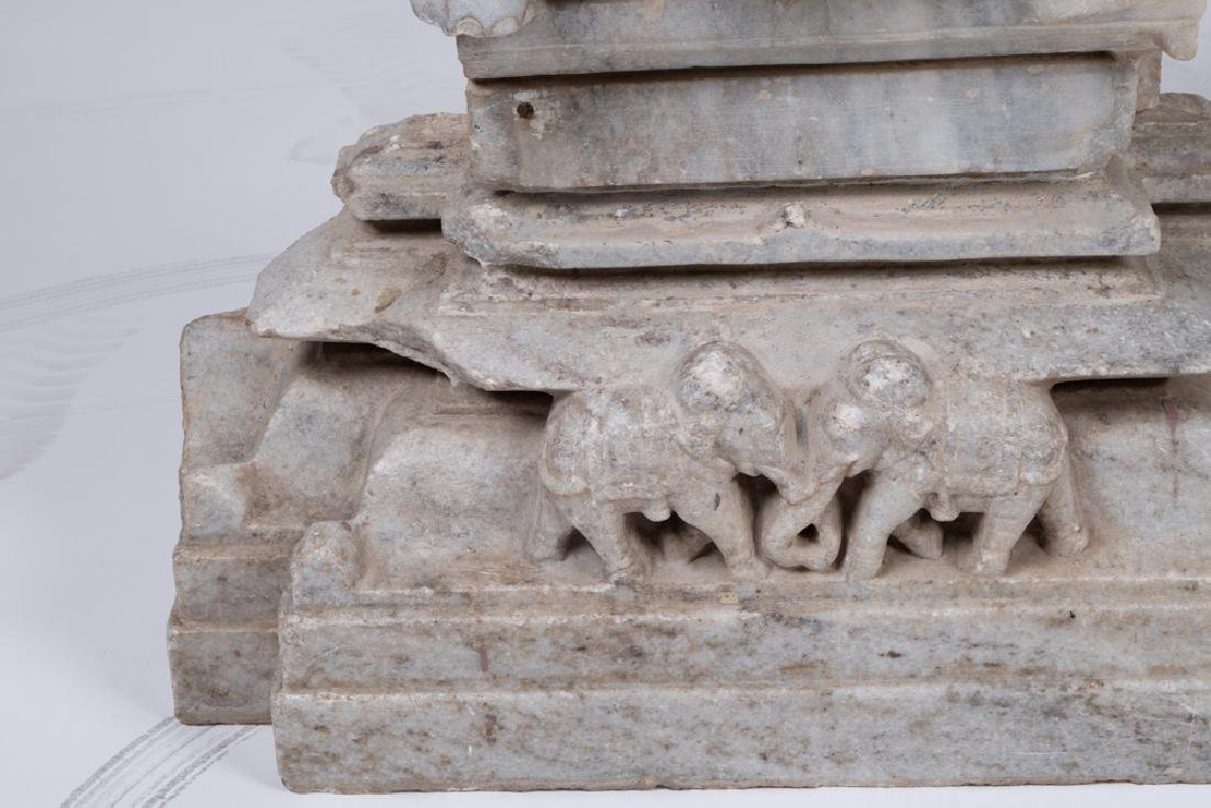PAIR OF INDIAN JAIN CARVED MARBLE ELEPHANT RELIEFS - 8