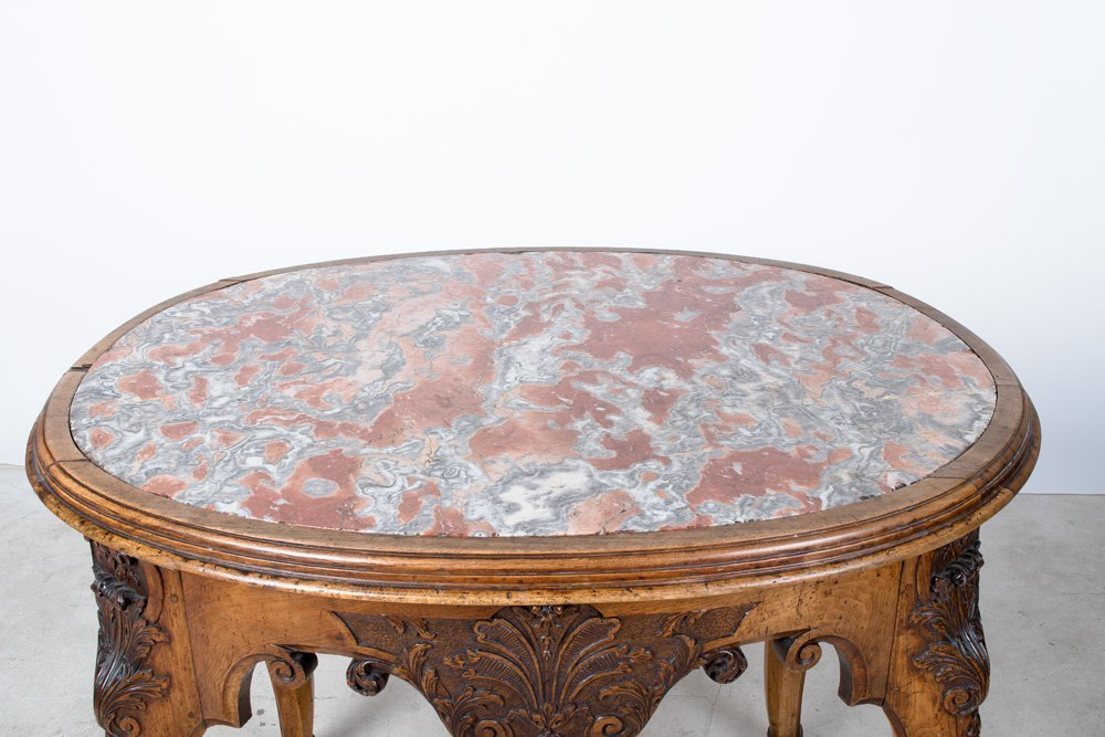 FRENCH REGENCE WALNUT & MARBLE TOP CENTER TABLE - 2