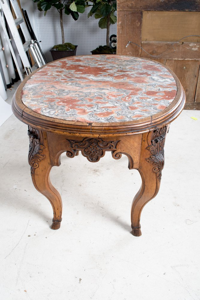 FRENCH REGENCE WALNUT & MARBLE TOP CENTER TABLE - 3