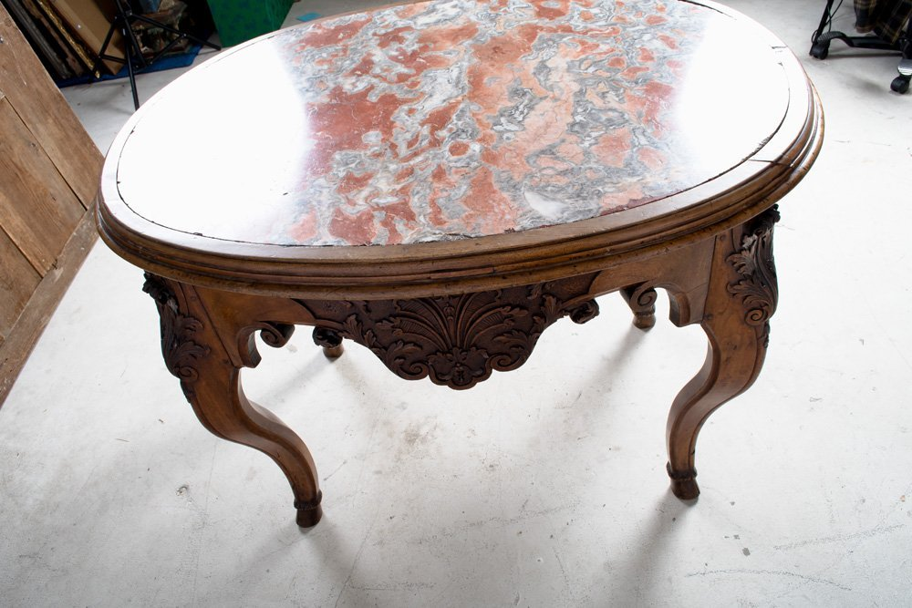 FRENCH REGENCE WALNUT & MARBLE TOP CENTER TABLE - 4
