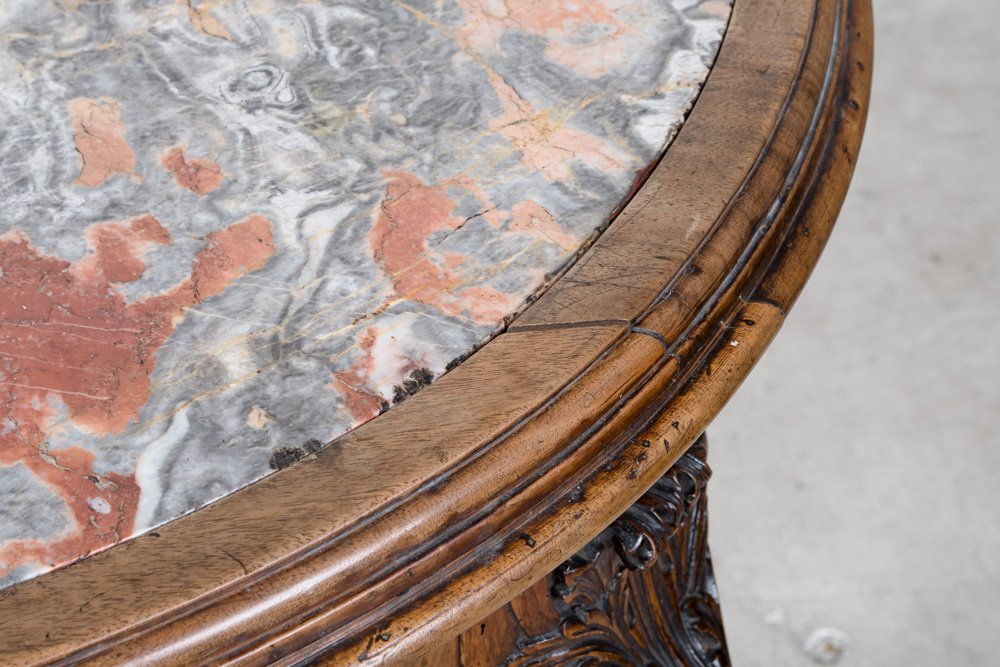 FRENCH REGENCE WALNUT & MARBLE TOP CENTER TABLE - 8