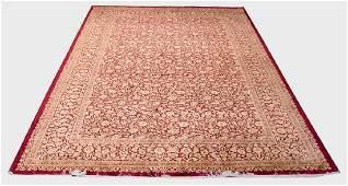QUM RED & GOLD SILK PERSIAN CARPET
