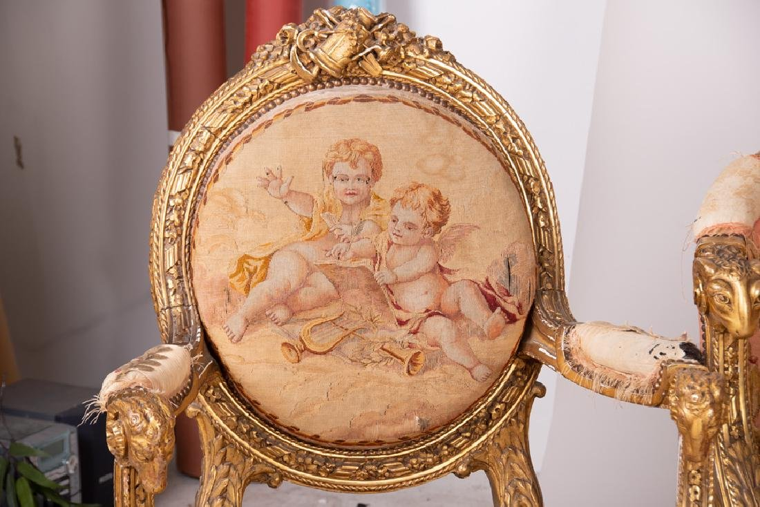 LOUIS XVI STYLE TAPESTRY UPHOLSTERED SALON SET - 4