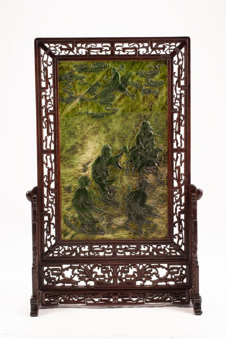 CHINESE CARVED TABLE SCREEN - 2