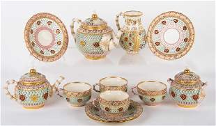 ROYAL WORCESTER DOUBLE-WALL CHINOISERIE TEA SERVICE