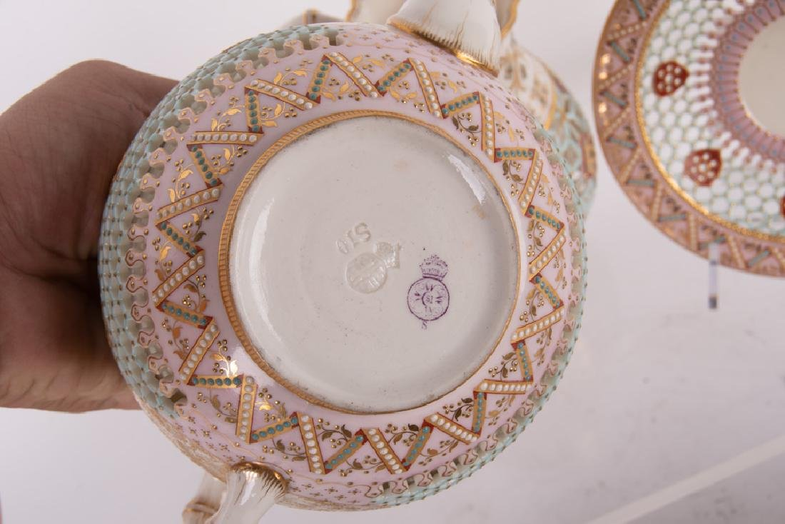 ROYAL WORCESTER DOUBLE-WALL CHINOISERIE TEA SERVICE - 3