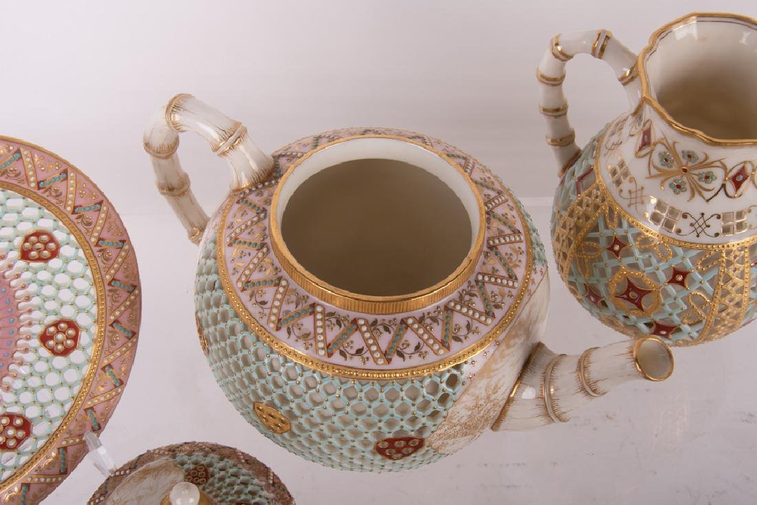 ROYAL WORCESTER DOUBLE-WALL CHINOISERIE TEA SERVICE - 4