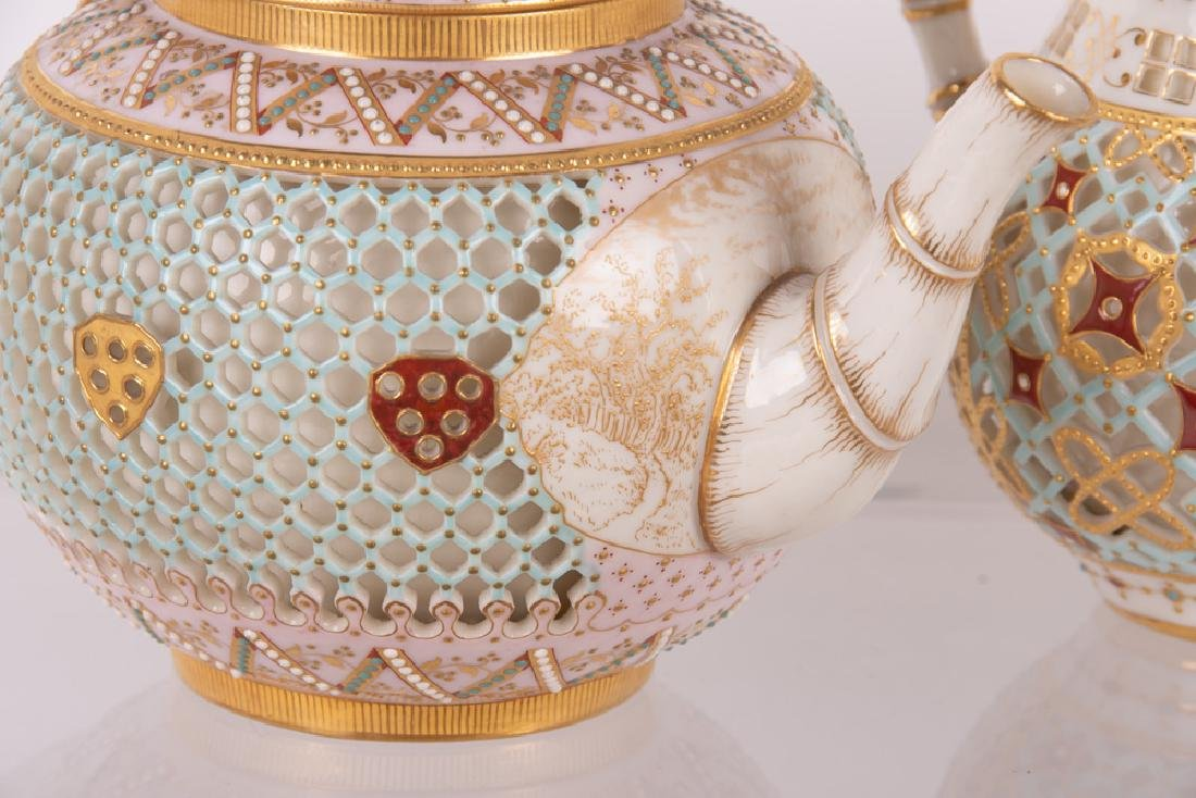 ROYAL WORCESTER DOUBLE-WALL CHINOISERIE TEA SERVICE - 5